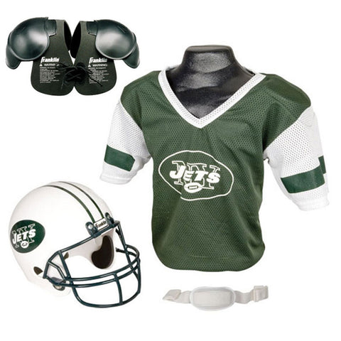 New York Jets Youth NFL Helmet and Jersey SET with Shoulder Pads