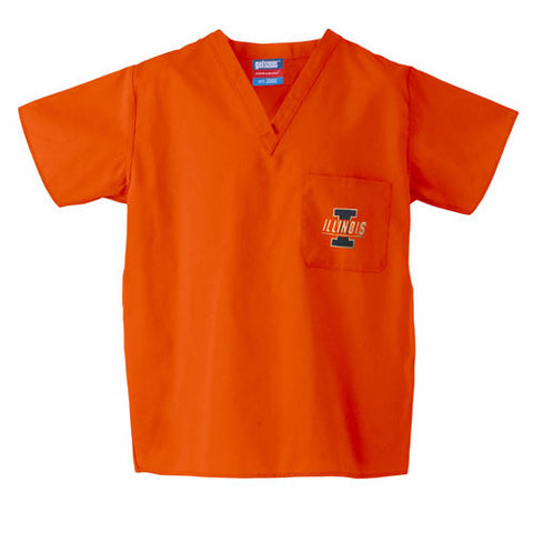 Illinois Fighting Illini NCAA Classic Scrub 1 Pocket Top Orange