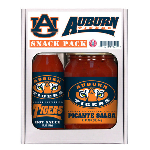 Auburn Tigers NCAA Snack Pack 5oz Hot Sauce, 16oz Picante Salsa