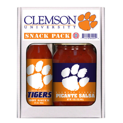 Clemson Tigers NCAA Snack Pack 5oz Hot Sauce, 16oz Picante Salsa