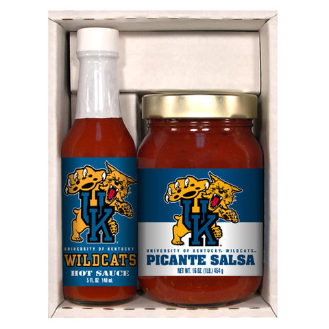 Kentucky Wildcats NCAA Snack Pack 5oz Hot Sauce, 16oz Picante Salsa