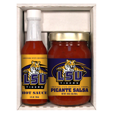 LSU Tigers NCAA Snack Pack 5oz Hot Sauce, 16oz Picante Salsa