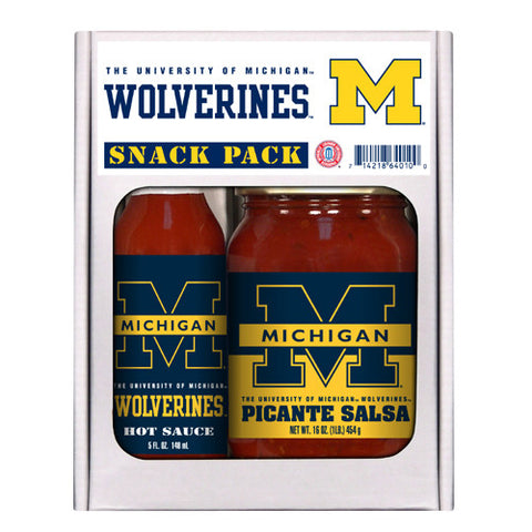 Michigan Wolverines NCAA Snack Pack 5oz Hot Sauce, 16oz Picante Salsa