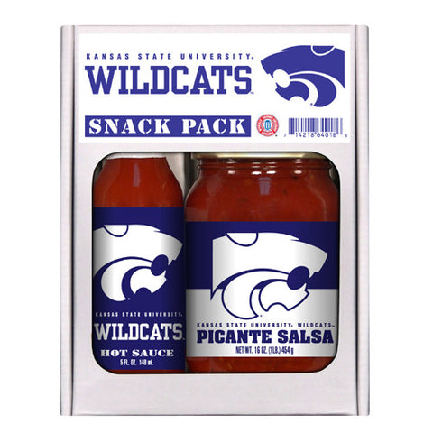 Kansas State Wildcats NCAA Snack Pack 5oz Hot Sauce, 16oz Picante Salsa
