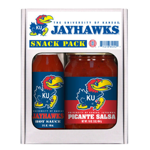 Kansas Jayhawks NCAA Snack Pack 5oz Hot Sauce, 16oz Picante Salsa