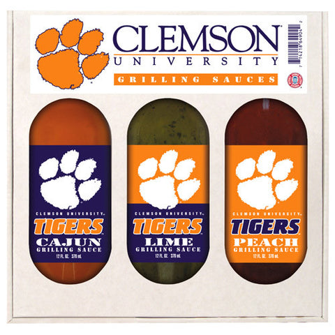 Clemson Tigers NCAA Grilling Gift Set 12oz Cajun, Lime, Peach