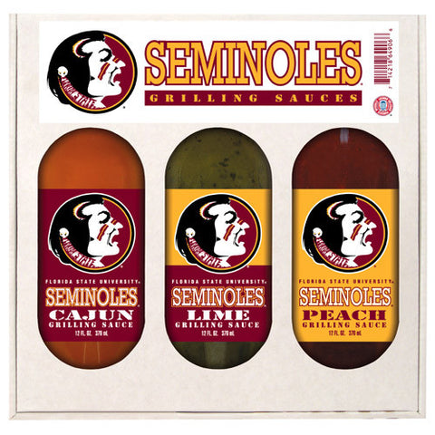 Florida State Seminoles NCAA Grilling Gift Set 12oz Cajun, Lime, Peach