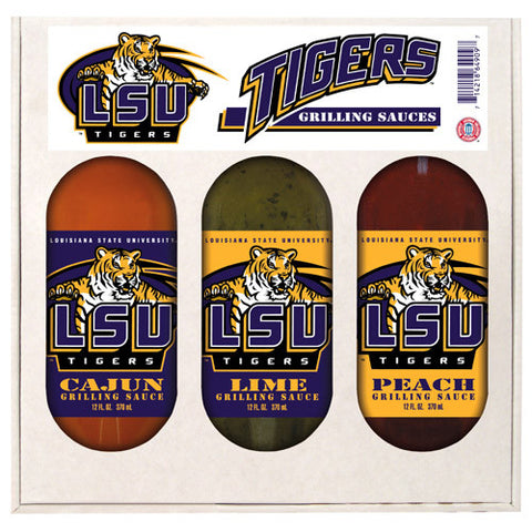LSU Tigers NCAA Grilling Gift Set 12oz Cajun, Lime, Peach