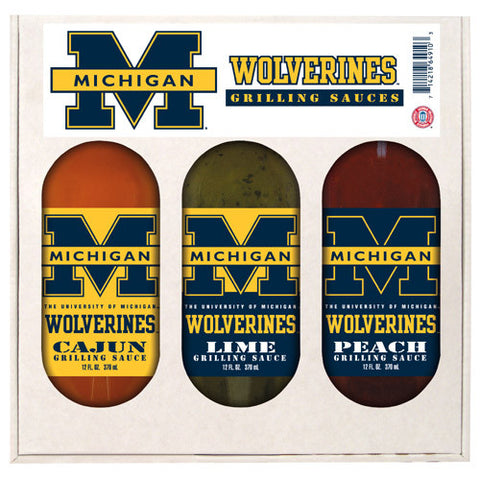 Michigan Wolverines NCAA Grilling Gift Set 12oz Cajun, Lime, Peach