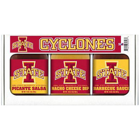 Iowa State Cyclones NCAA Triple Play Gift Set 16oz BBQ Sauce, Picante Salsa, Cheeze Dip