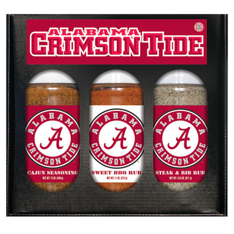 Alabama Crimson Tide NCAA Boxed Set of 3 Cajun Seas,Stk/Rib Rub, BBQ Rub