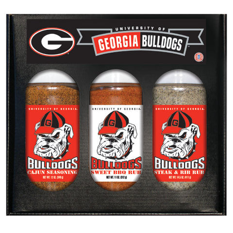 Georgia Bulldogs NCAA Boxed Set of 3 Cajun Seas,Stk/Rib Rub, BBQ Rub
