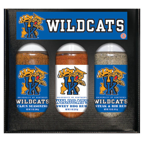 Kentucky Wildcats NCAA Boxed Set of 3 Cajun Seas,Stk/Rib Rub, BBQ Rub