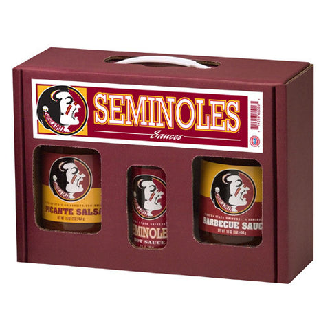 Florida State Seminoles NCAA Tailgate Kit 5oz Hot Sauce, 16oz BBQ Picante Salsa