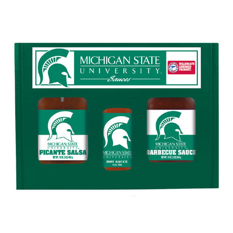 Michigan State Spartans NCAA Tailgate Kit 5oz Hot Sauce, 16oz BBQ Picante Salsa