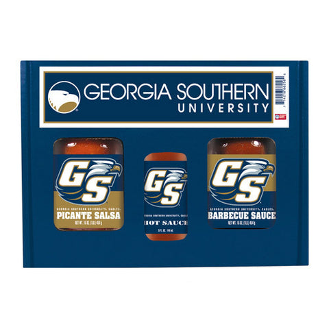 Georgia Southern Eagles NCAA Tailgate Kit 5oz Hot Sauce, 16oz BBQ Picante Salsa