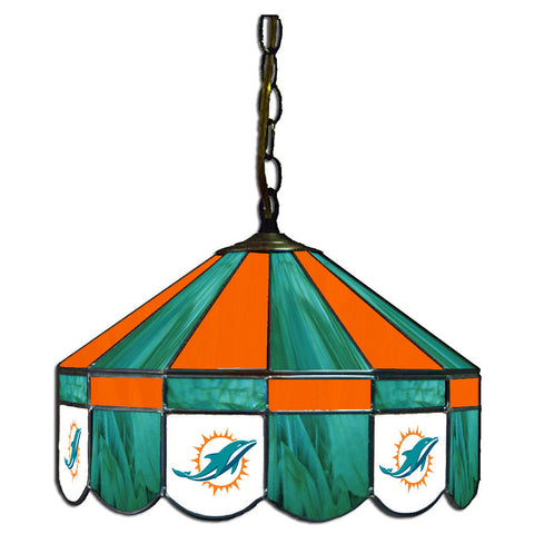 Miami Dolphins NFL 16 Inch Billiards Stained Glass Lamp