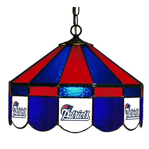 New England Patriots NFL 16 Inch Billiards Stained Glass Lamp
