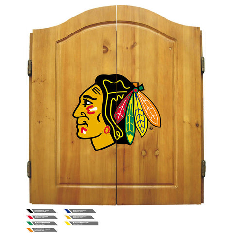 Chicago Blackhawks NHL Dart Board w/Cabinet