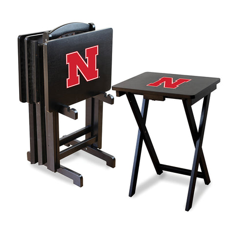 Nebraska Cornhuskers NCAA TV Tray Set with Rack