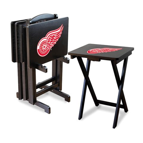 Detroit Red Wings NHL TV Tray Set with Rack