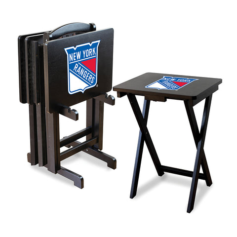 New York Rangers NHL TV Tray Set with Rack