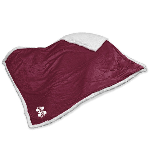 Mississippi State Bulldogs NCAA Soft Plush Sherpa Throw Blanket 50in x 60in
