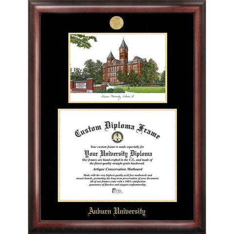 Auburn University Gold Embossed Diploma Frame with Limited Edition Lithograph