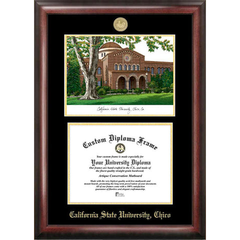 California State University, Chico Gold Embossed Diploma Frame with Limited Edition Lithograph