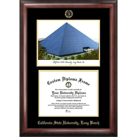 California State University, Long Beach Gold Embossed Diploma Frame with Limited Edition Lithograph