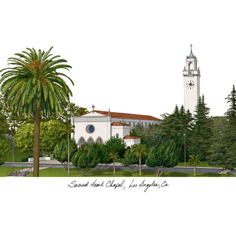 Loyola Marymount Campus Images Lithograph Print
