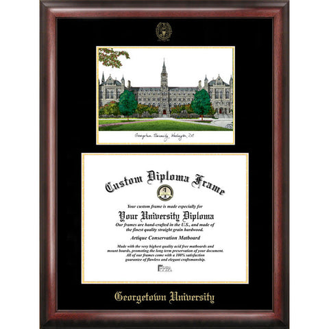 Georgetown University Gold Embossed Diploma Frame with Limited Edition Lithograph