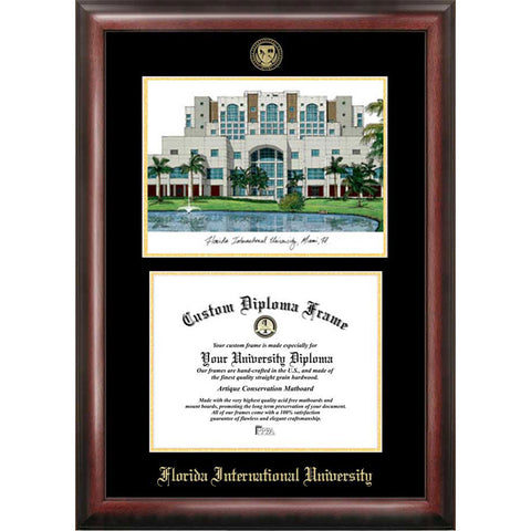 Florida International University Gold Embossed Diploma Frame with Limited Edition Lithograph