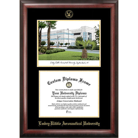 Embry Riddle Aeronautical University Gold Embossed Diploma Frame with Limited Edition Lithograph