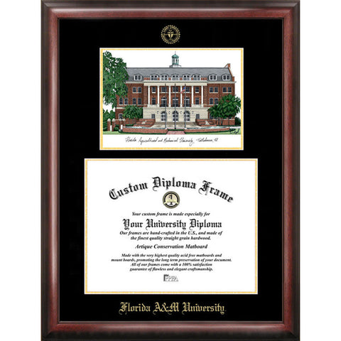 Florida A&M University Gold embossed diploma frame with Campus Images lithograph