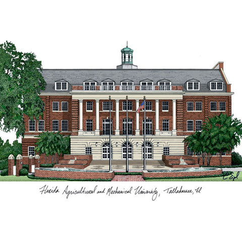Florida A&M University Campus Images Lithograph Print