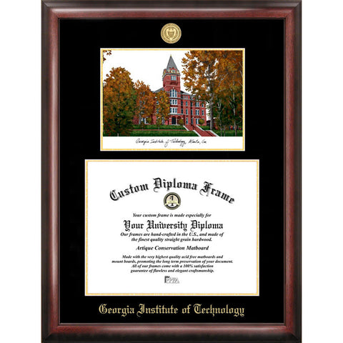 Georgia Institute of Technology Gold Embossed Diploma Frame with Limited Edition Lithograph