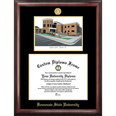 Kennesaw State University Gold Embossed Diploma Frame with Limited Edition Lithograph