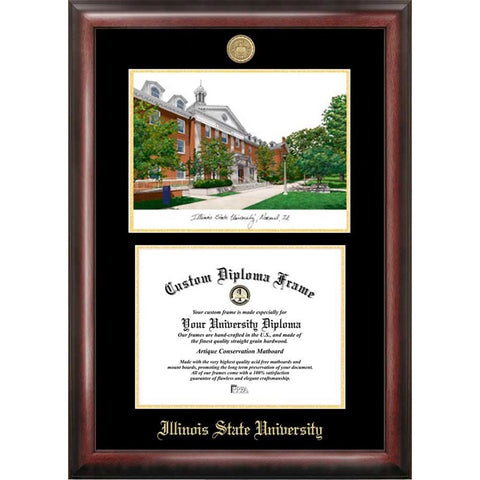 Illinois State University Gold Embossed Diploma Frame with Limited Edition Lithograph