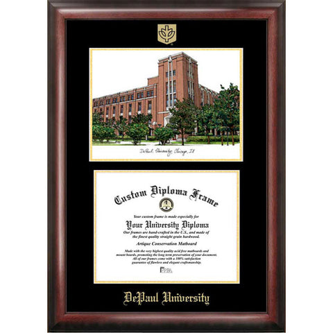 DePaul Univ Gold Embossed Diploma Frame with Limited Edition Lithograph