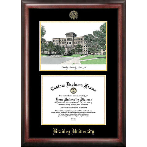 Bradley University Gold Embossed Diploma Frame with Limited Edition Lithograph