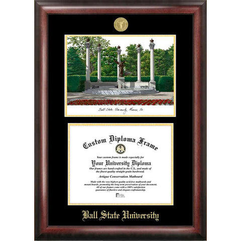 Ball State University Gold Embossed Diploma Frame with Limited Edition Lithograph