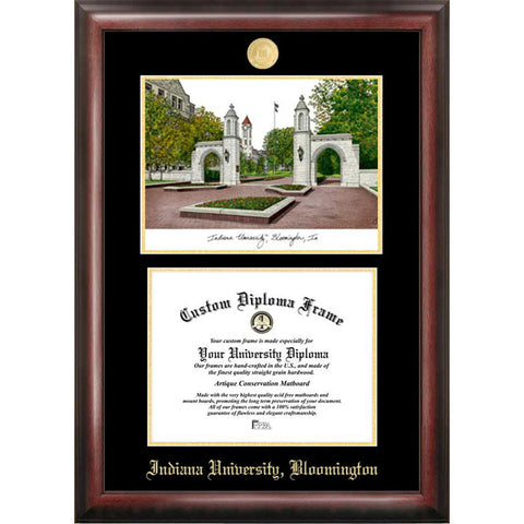 Indiana University, Bloomington Gold Embossed Diploma Frame with Limited Edition Lithograph