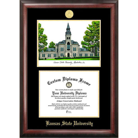 Kansas State University Gold Embossed Diploma Frame with Limited Edition Lithograph