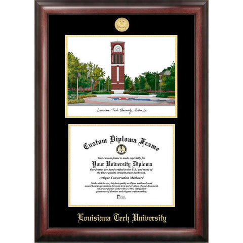 Louisiana Tech University Gold Embossed Diploma Frame with Limited Edition Lithograph