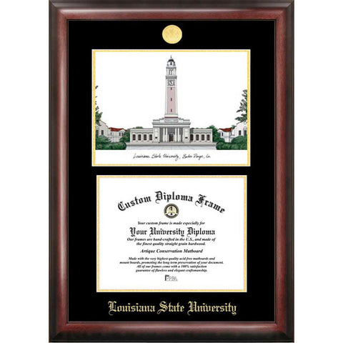 Louisiana State University Gold Embossed Diploma Frame with Limited Edition Lithograph