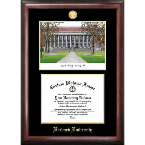 Harvard University Gold Embossed Diploma Frame with Limited Edition Lithograph