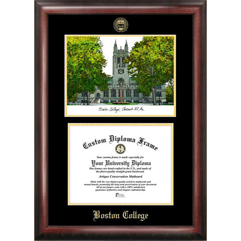 Boston College Gold Embossed Diploma Frame with Limited Edition Lithograph