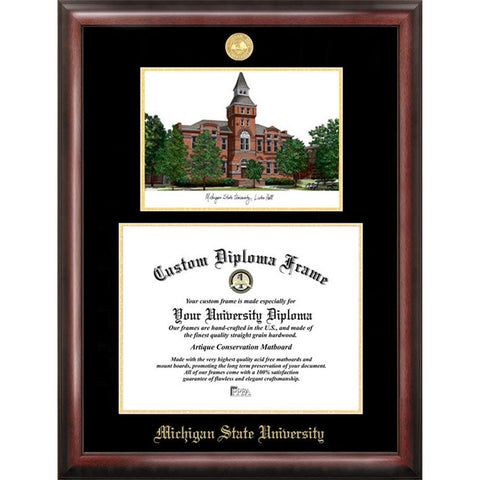 Michigan State U: Linton Hall Gold Embossed Diploma Frame with Limited Edition Lithograph