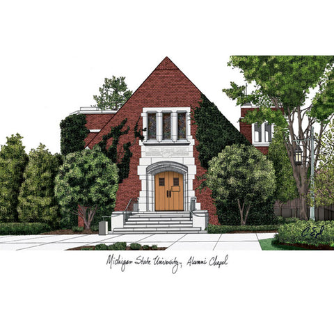 Michigan State University, Alumni Chapel ,Campus Images Lithograph Print